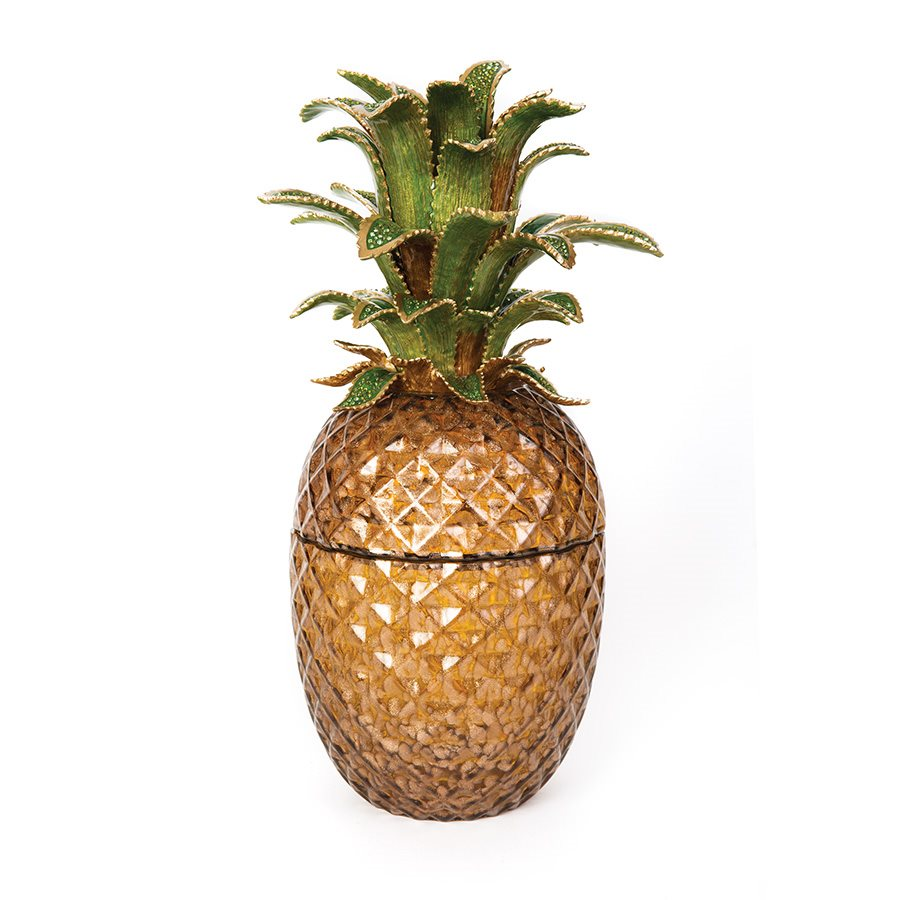 Jay Strongwater Winston Pineapple Jeweled Glass Jar