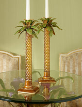 Load image into Gallery viewer, Jay Strongwater Kiana Palm Leaf Jeweled Glass Candlestick