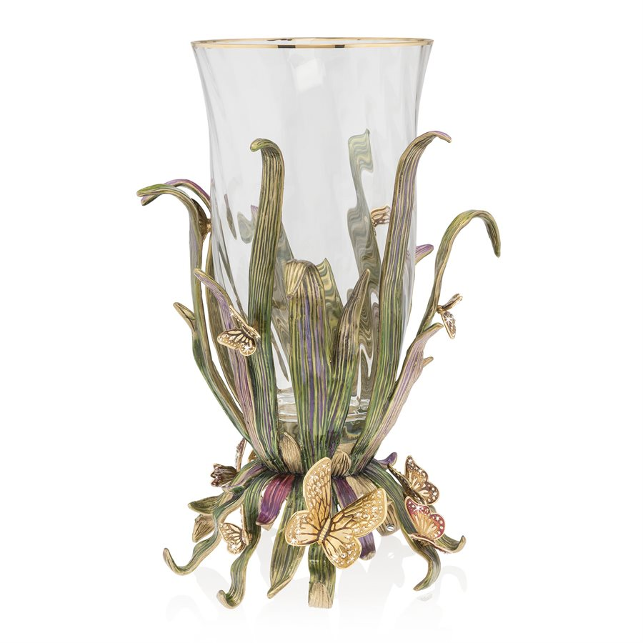 Jay Strongwater Elva Butterfly and Leaf  Vase