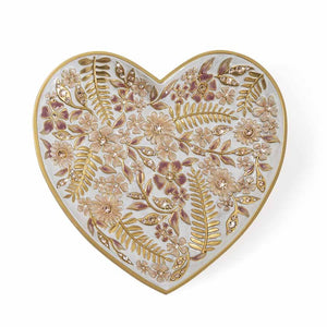 Jay Strongwater Aria Floral Heart Trinket Tray - Pink