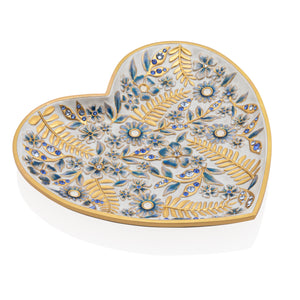 Jay Strongwater Aria Floral Heart Trinket Tray - Blue