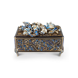 Jay Strongwater Genevieve Grand Floral Chest - Blue