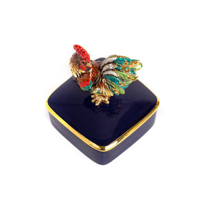 Jay Strongwater Chen Rooster Porcelain Box