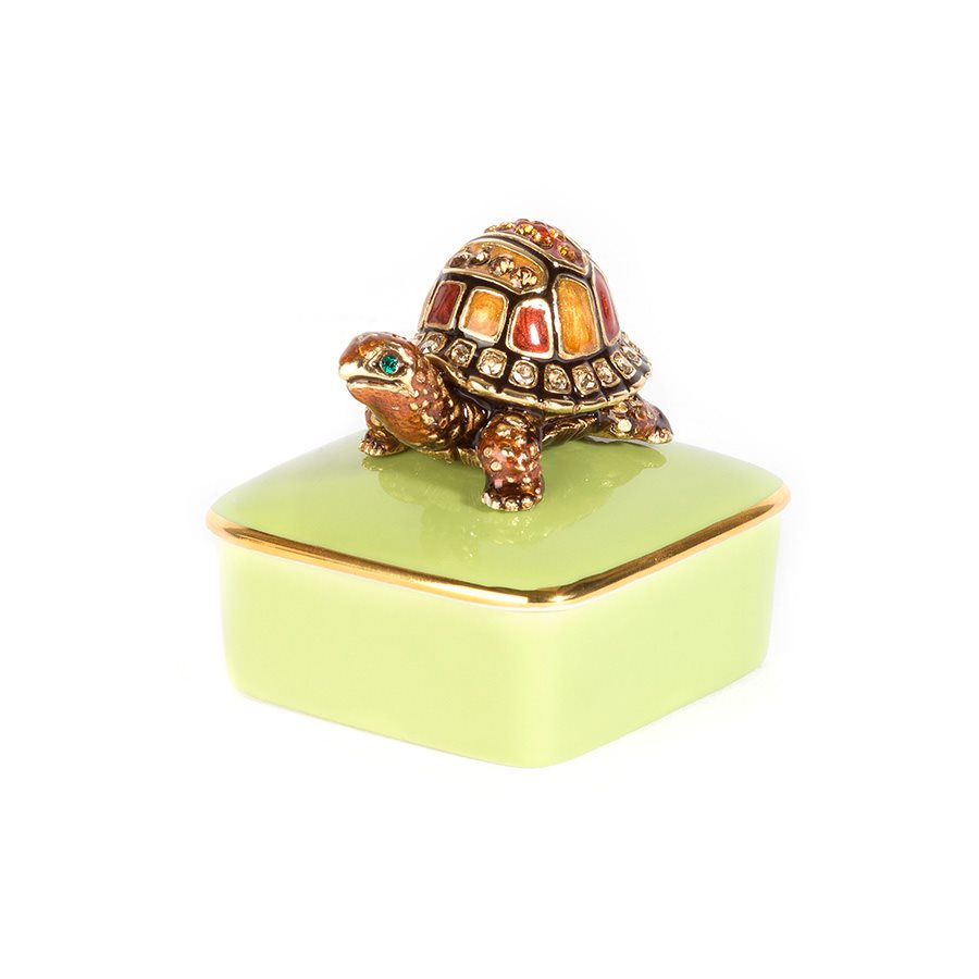Jay Strongwater Caden Turtle Porcelain Box
