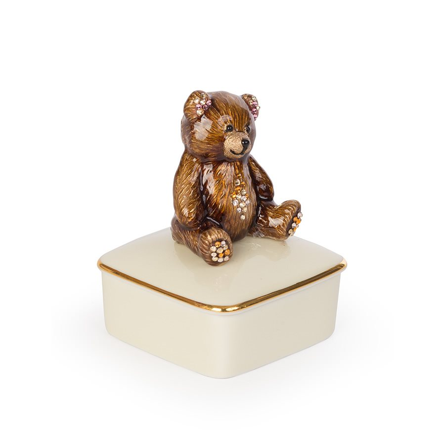 Jay Strongwater Roman Teddy Bear Porcelain Box