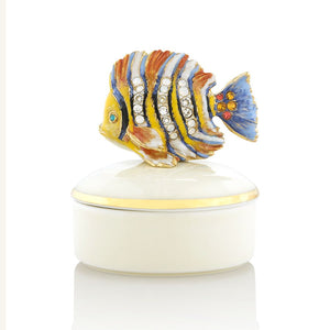 Jay Strongwater Finley Fish Round Porcelain Box