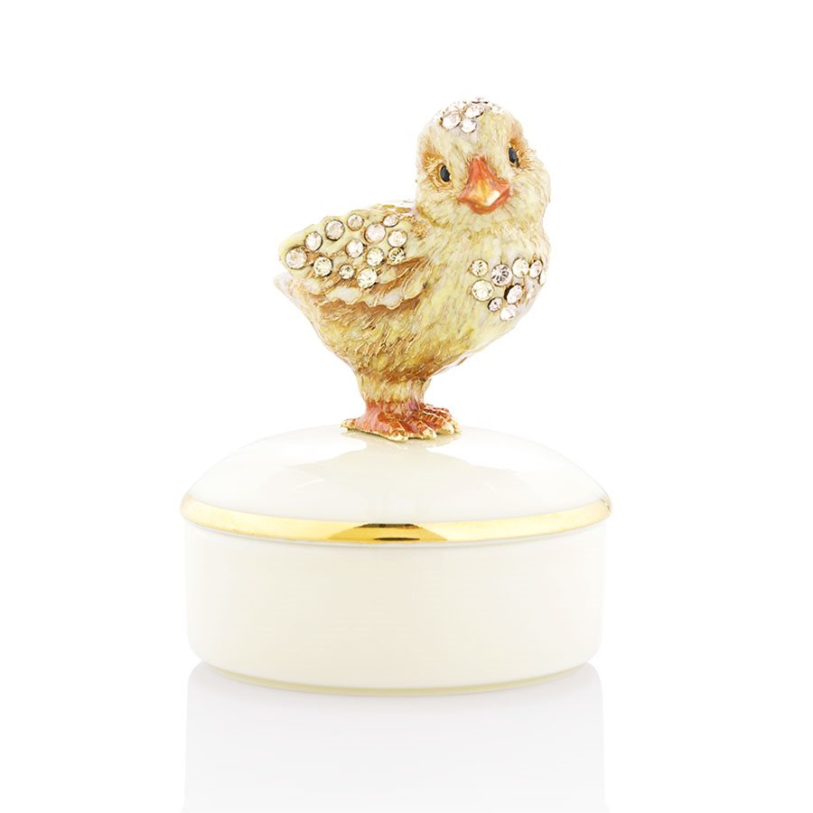 Jay Strongwater Sawyer Chick Round Porcelain Box