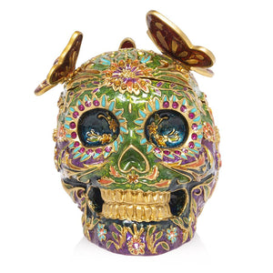 Jay Strongwater Rivera - Skull with Butterflies Box