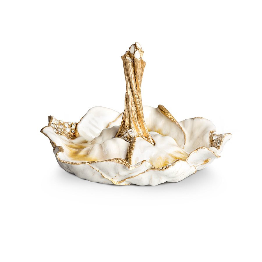 Jay Strongwater Scarlett Leaf Ring Dish - Golden