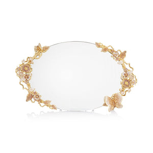 Jay Strongwater Annalise Butterfly & Floral Mirror Tray