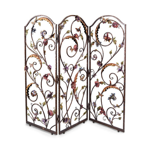 Jay Strongwater Celeste Flora & Fauna 3-Panel Room Screen