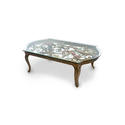 Jay Strongwater Everett Floral & Scroll Coffee Table