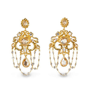 Jay Strongwater Golden Chandelier Clip Earrings