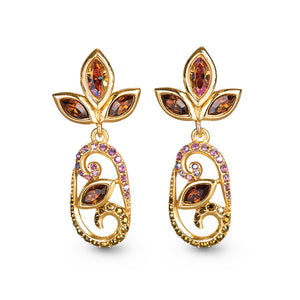 Jay Strongwater Open Scroll Drop Post Earrings