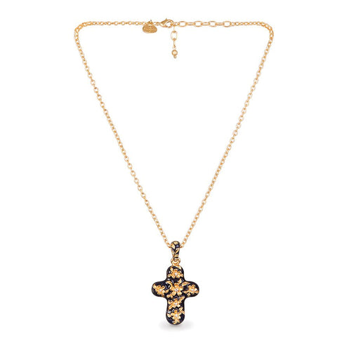 Jay Strongwater Floral Cross Pendant - Indigo