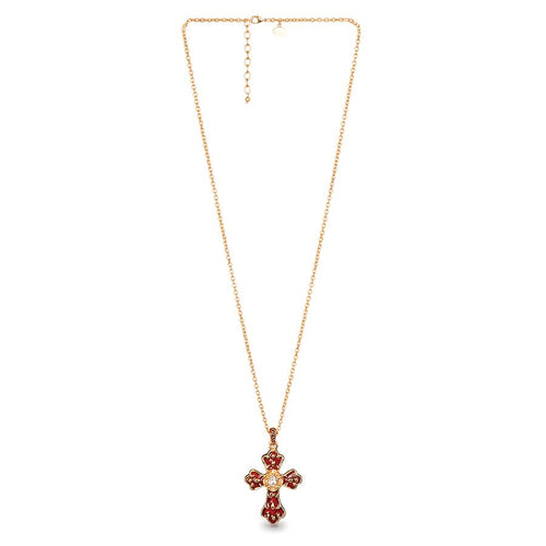 Jay Strongwater Scroll Leaf Cross Pendant - Ruby
