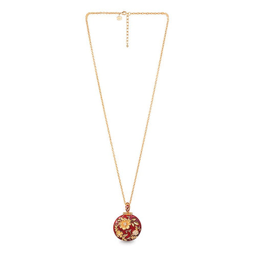 Jay Strongwater Floral Leaf Round Pendant - Ruby