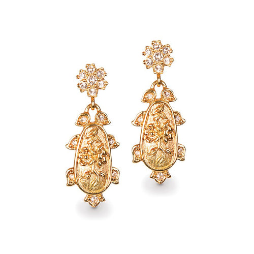 Jay Strongwater Gilded Chinoiserie Post Earrings