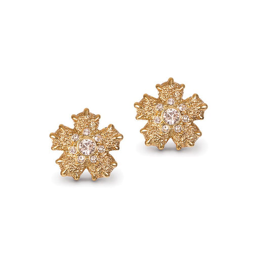Jay Strongwater Gilded Wildflower Clip Earrings