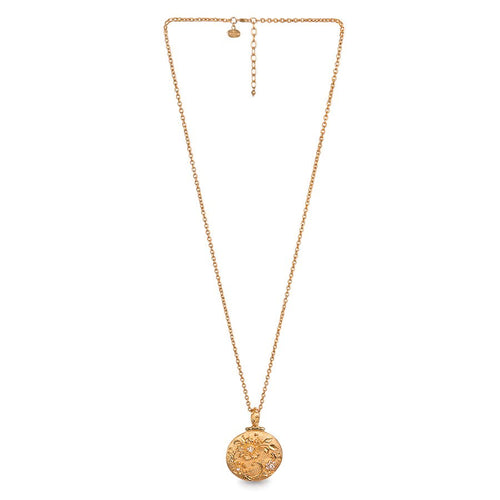 Jay Strongwater Gilded Floral Leaf Round Pendant