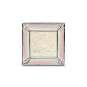 "Jay Strongwater Leland Pave Corner 2"" Square Frame - Pink"