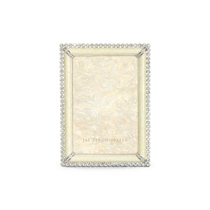 "Jay Strongwater Lorraine Stone Edge 4"" x 6"" Frame - Crystal Pearl"
