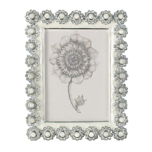 Jay Strongwater 3 X 4 Crystal Pearl Flower Edge Frame