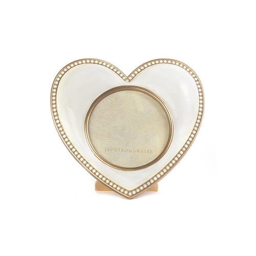 Jay Strongwater Chantal Heart Frame - White
