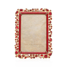 "Load image into Gallery viewer, Jay Strongwater Emery Bejeweled 4"" x 6"" Frame - Ruby"