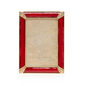 "Jay Strongwater Leonard Pave Corner 4"" x 6"" Frame - Ruby Red"