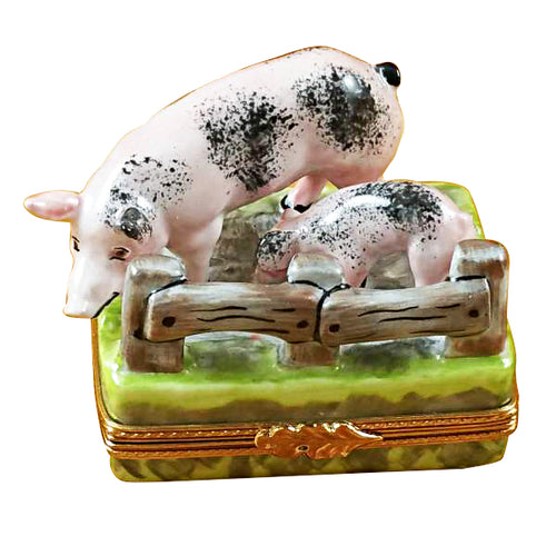 Two Spotted Pigs by Fence Limoges Box