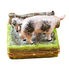 Load image into Gallery viewer, Two Spotted Pigs by Fence Limoges Box