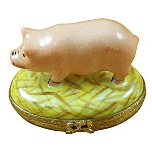 Pig on Straw Limoges Box