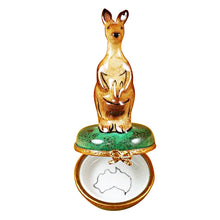 Load image into Gallery viewer, Kangaroo on Round Box Limoges Box