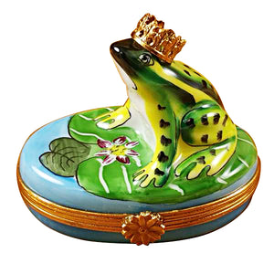 Frog with Crown Blue Base Limoges Box