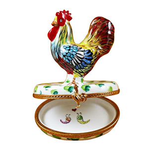Rooster on White Base Limoges Box