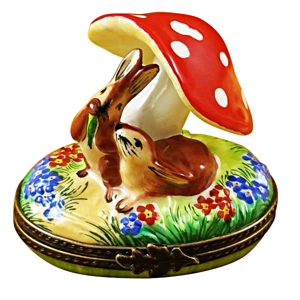 Bunnies Under Mushroom Limoges Box