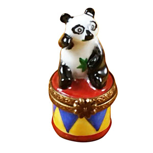 Small Panda on Round Base Limoges Box