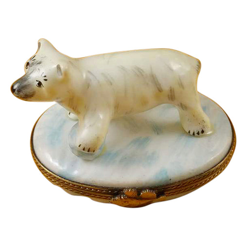 Polar Bear with Blue Ball Limoges Box