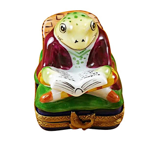 Fishing Frog with Book Limoges Box