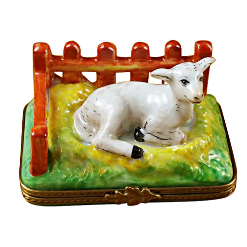 Lamb by Fence Limoges Box