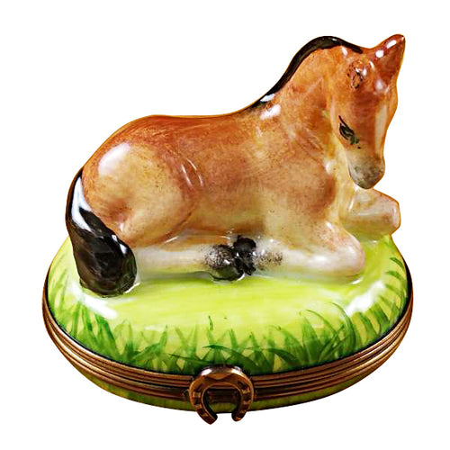 Horse Laying on Grass Limoges Box