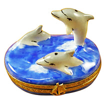 Load image into Gallery viewer, Three Dolphins Limoges Box