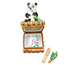 Load image into Gallery viewer, Panda with Removable Bamboo & Green Leaf Branch Limoges Box