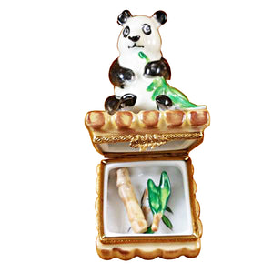 Panda with Removable Bamboo & Green Leaf Branch Limoges Box