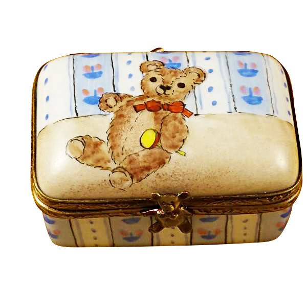 Rectangle Box with Teddy Bear Limoges Box