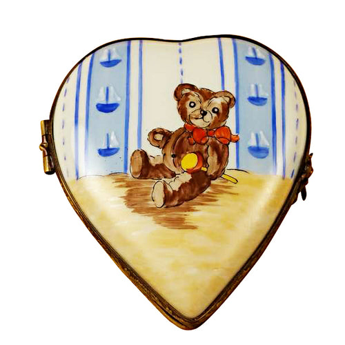 Heart with Teddy Bear Limoges Box