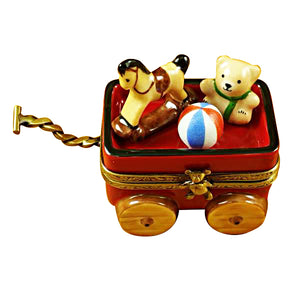 Red Wagon with Bear Limoges Box