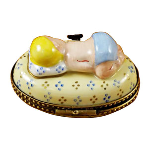 Blue Baby Sleeping Limoges Box