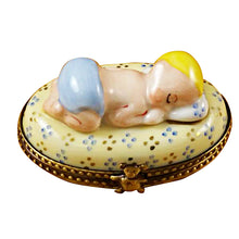 Load image into Gallery viewer, Blue Baby Sleeping Limoges Box